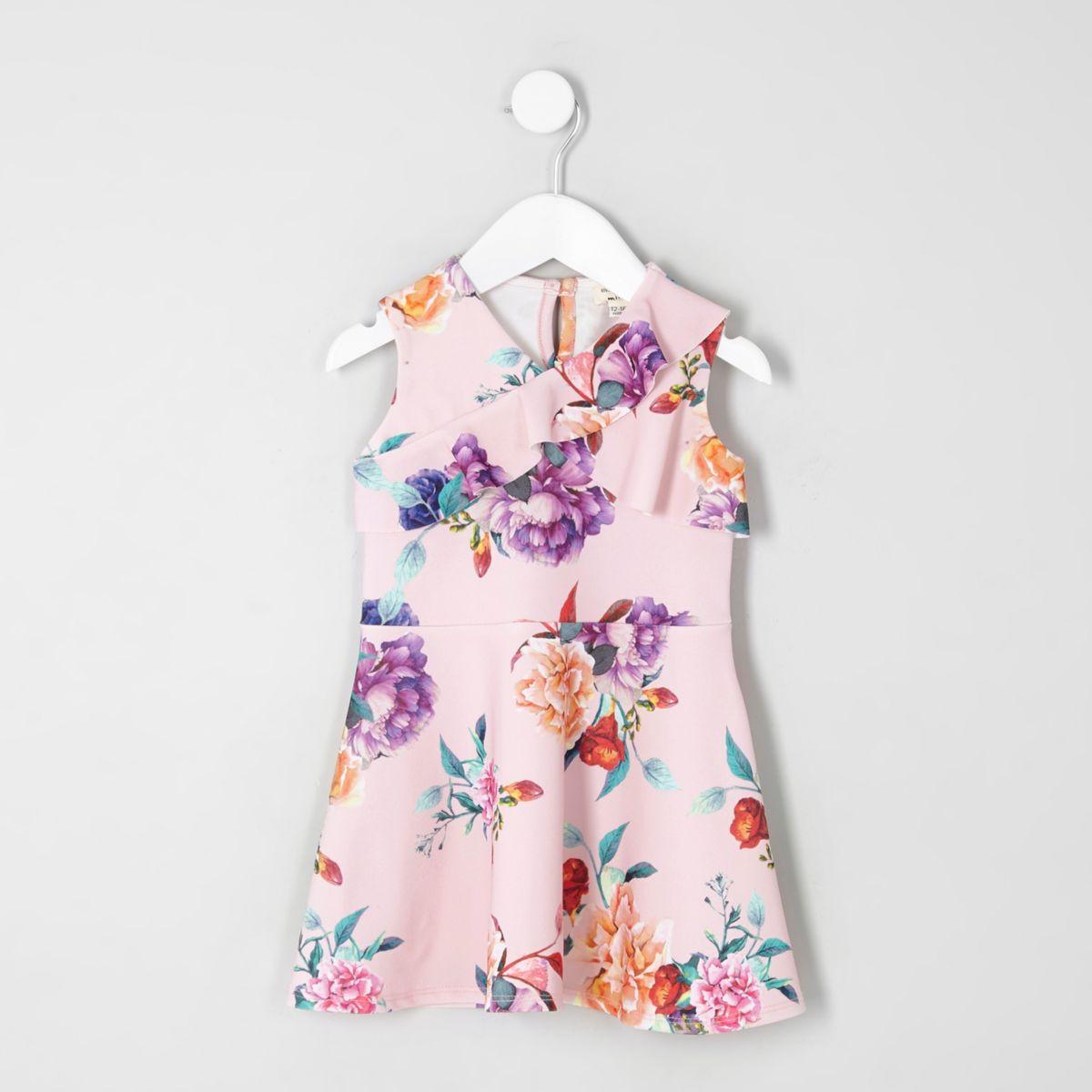 Mini girls pink floral frill skater dress