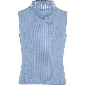 Girls blue rib sleeveless pearl choker top