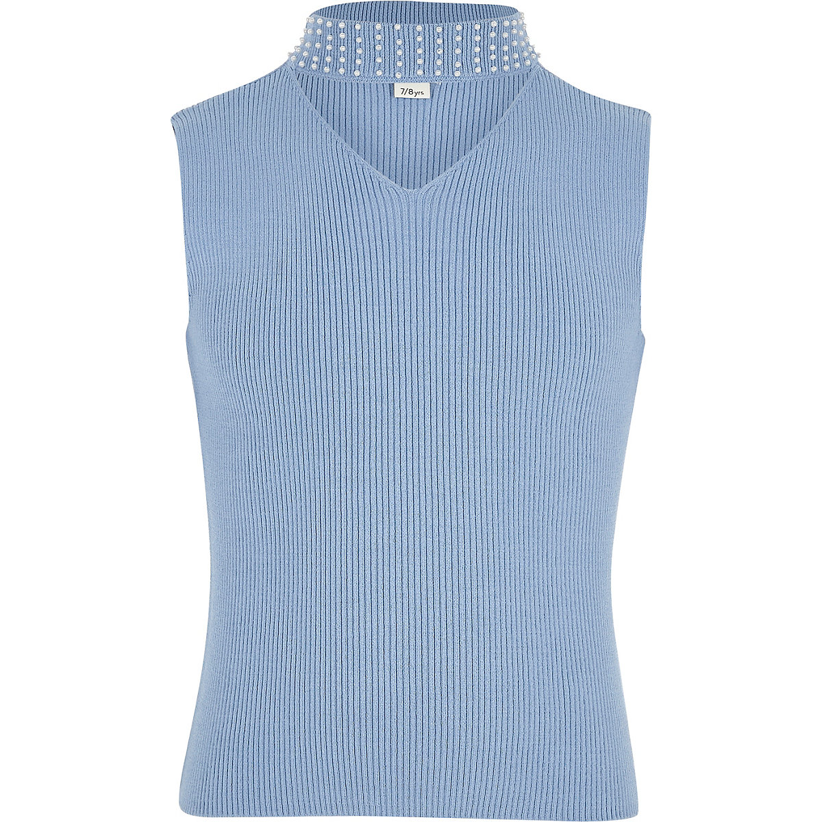 Girls blue rib knit embellished choker top