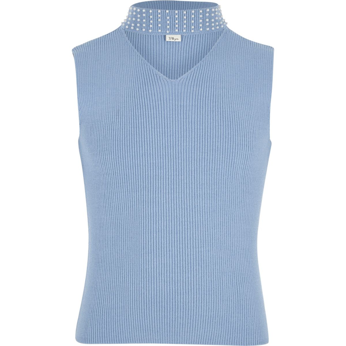 Girls blue rib sleeveless pearl choker top