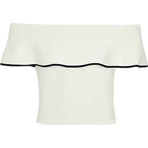 Girls white knit frill bardot top