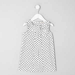 Mini girls white polka dot bow shift dress