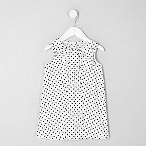Mini - Witte jurk met stippen en strik voor meisjes