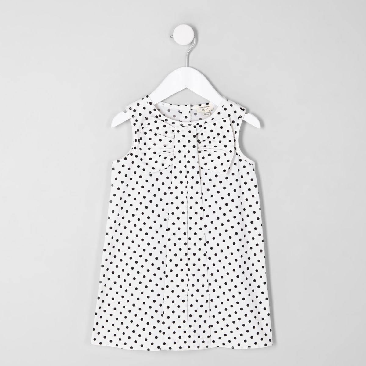 Mini girls white polka dot bow shift dress