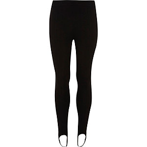 Girls black stirrup leggings