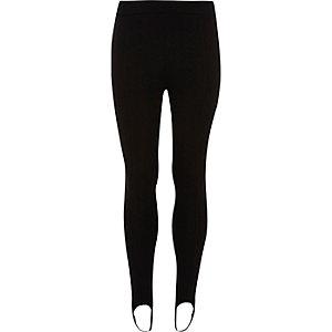 Zwarte legging met bandjes onder de voet voor meisjes