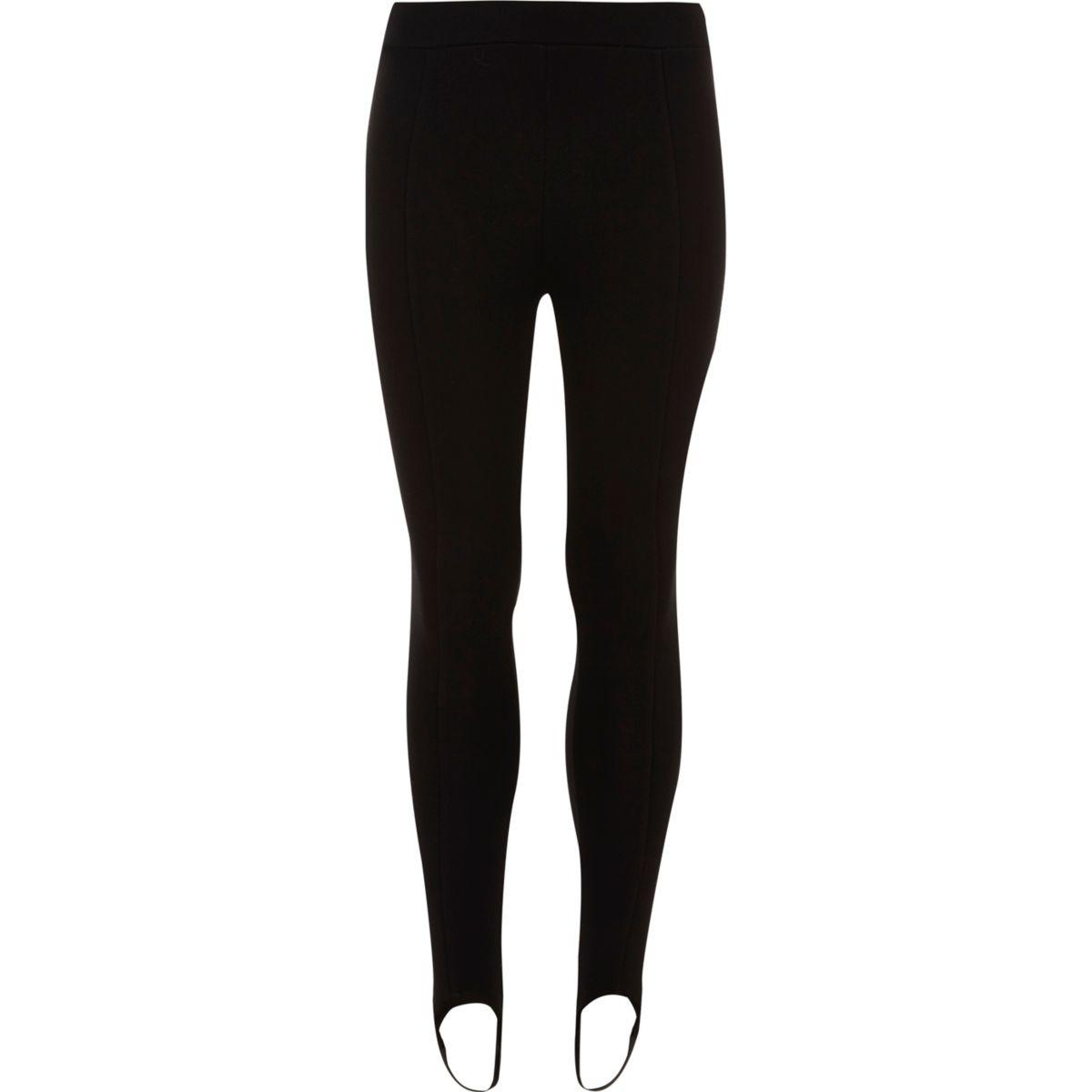 Girls black stirrup leggings