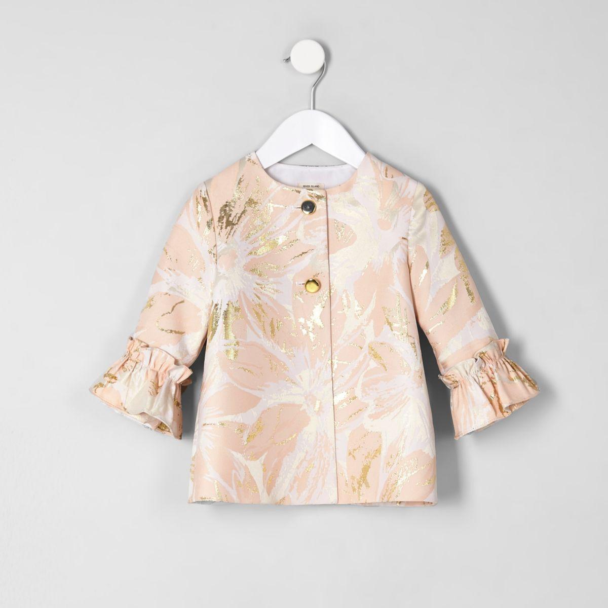 Mini girls pink jacquard frill cuff coat