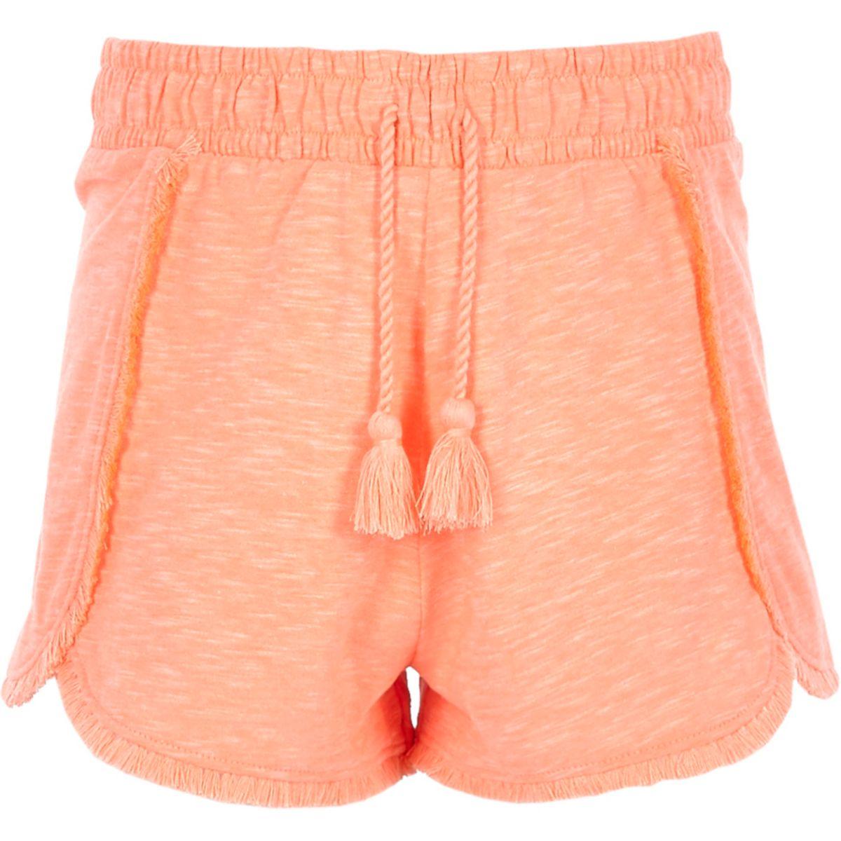 Girls pink jersey tassel shorts