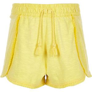 Short en jersey jaune à pampilles pour fille