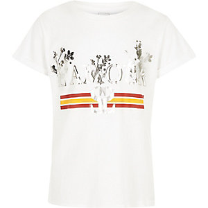 Girls white 'l'amour' foil print T-shirt