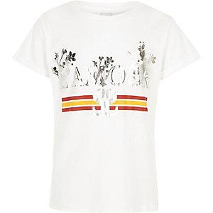 T-shirt imprimé «l'amour» métallisé blanc pour fille