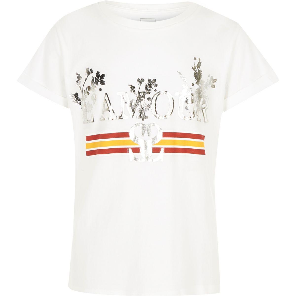Girls white l amour foil print t shirt tops sale girls for Foil print t shirts custom