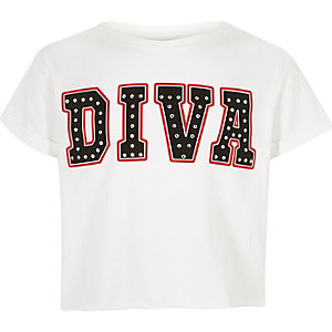 """Weißes T-Shirt """"Diva"""""""