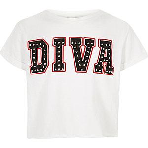 Wit T-shirt met 'diva'-print voor meisjes