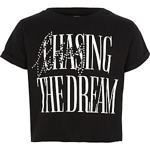 Girls black 'the dream' cropped T-shirt