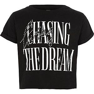 Zwart cropped T-shirt met 'the dream'-print voor meisjes