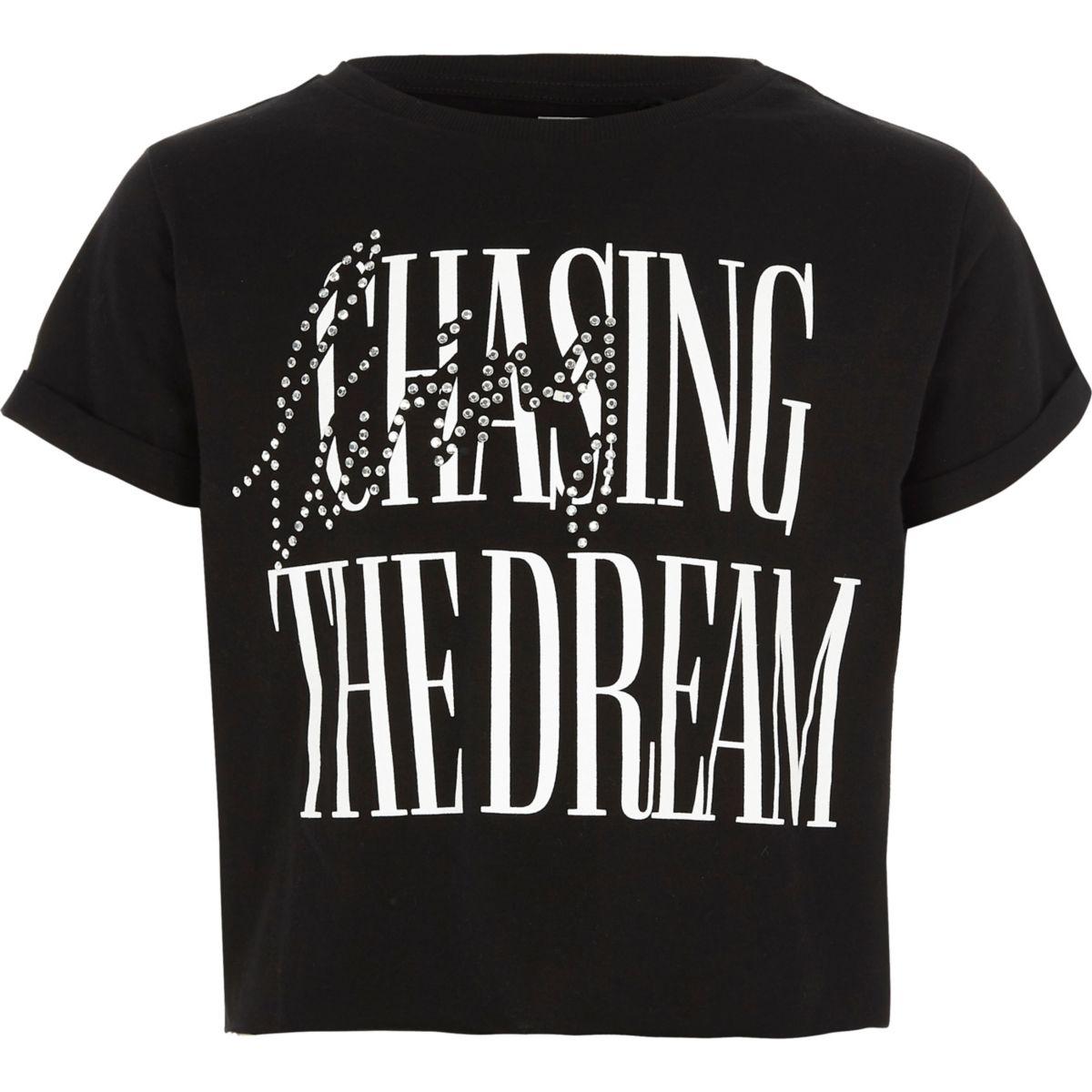 """Schwarzes, kurzes T-Shirt """"the dream"""""""