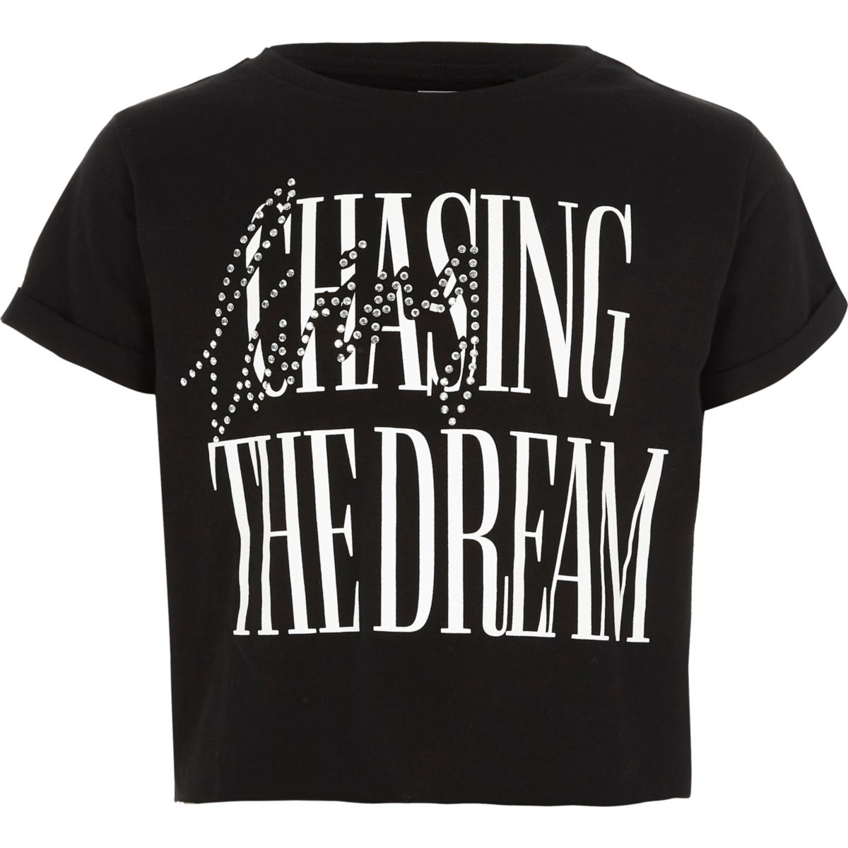 T-shirt court imprimé « the dream » noir pour fille