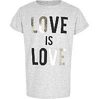 Girls grey 'love is love' foil print T-shirt