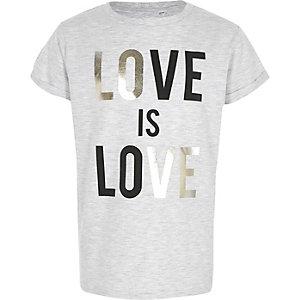 Grijs T-shirt met 'love is love'-folieprint voor meisjes