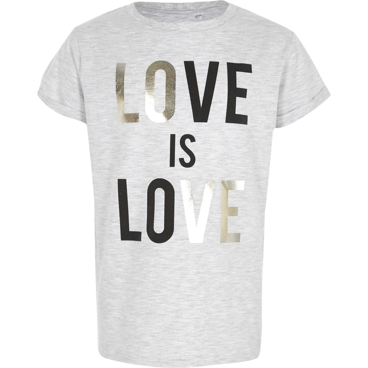 Girls grey 'love is love' foil print T-shirt