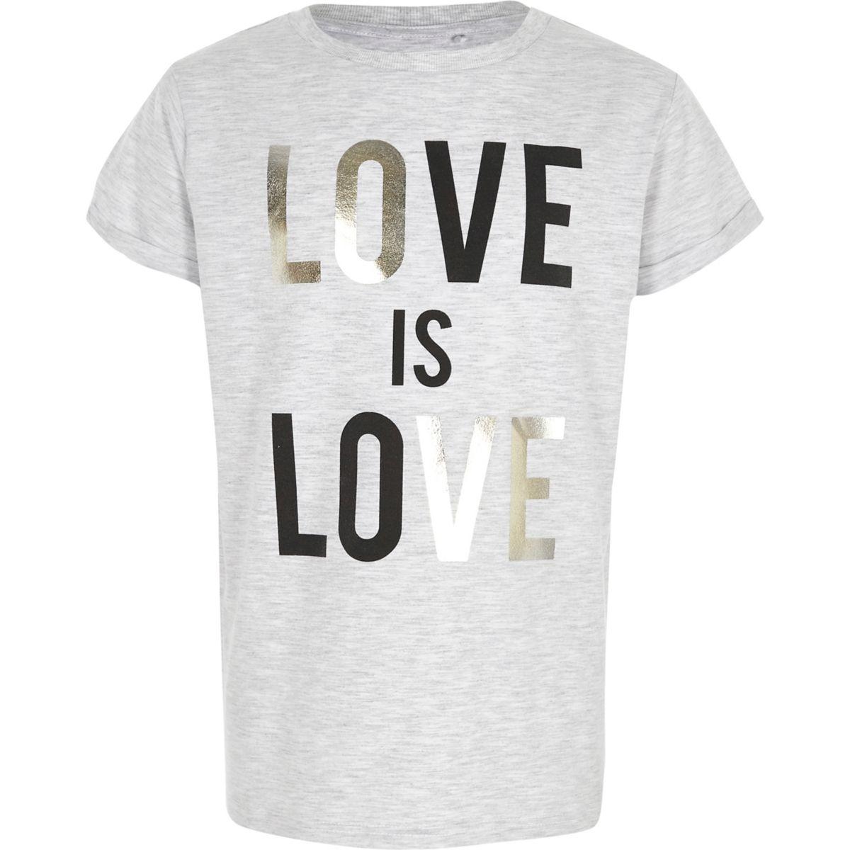 T-shirt gris «love is love» métallisé pour fille