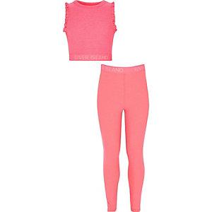 RI - Outfit met roze cropped top en legging voor meisjes