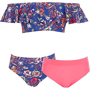 Ensemble bikini trois pièces à fleurs bleu pour fille