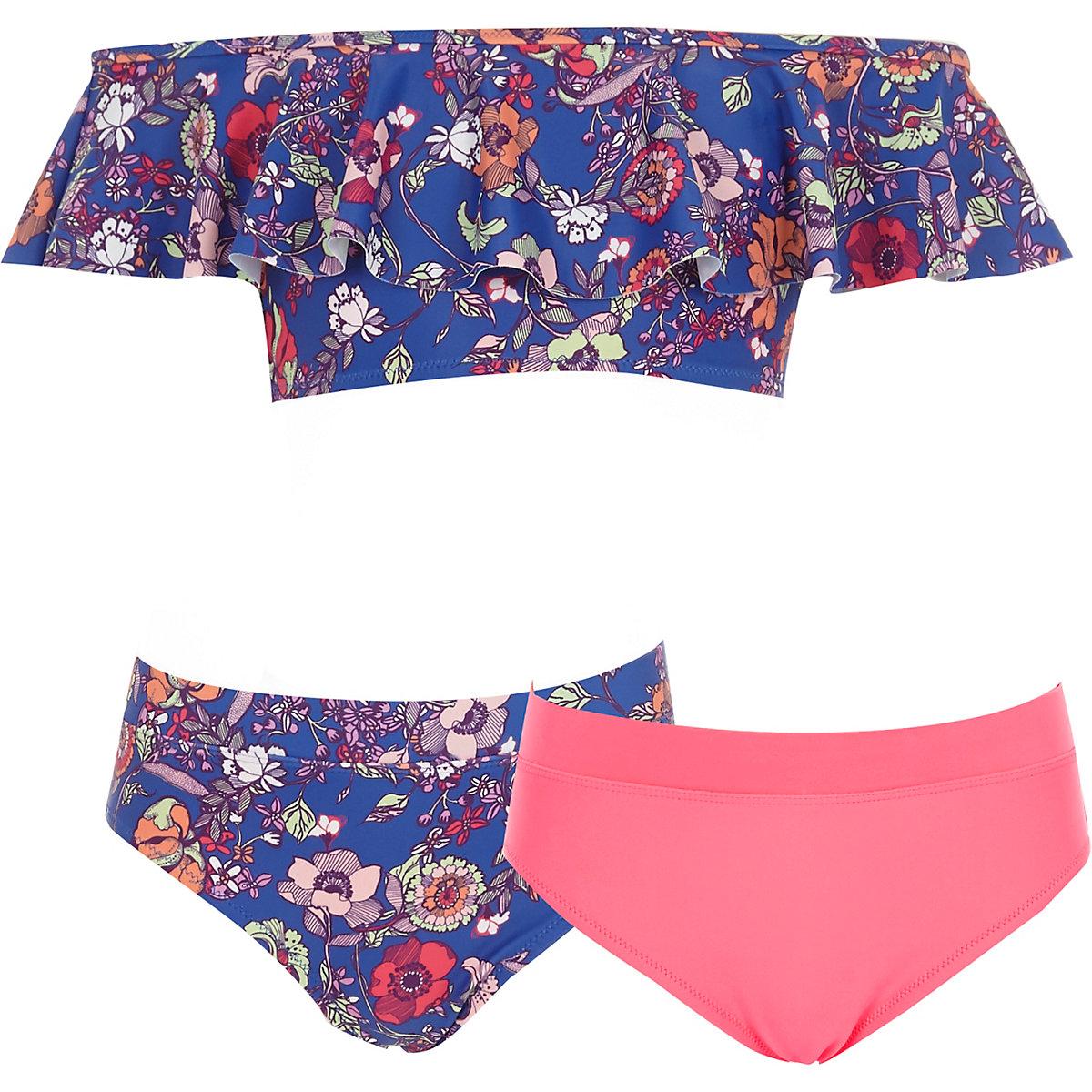 Girls blue floral three piece bikini set