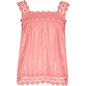 Girls pink lace trim cami top