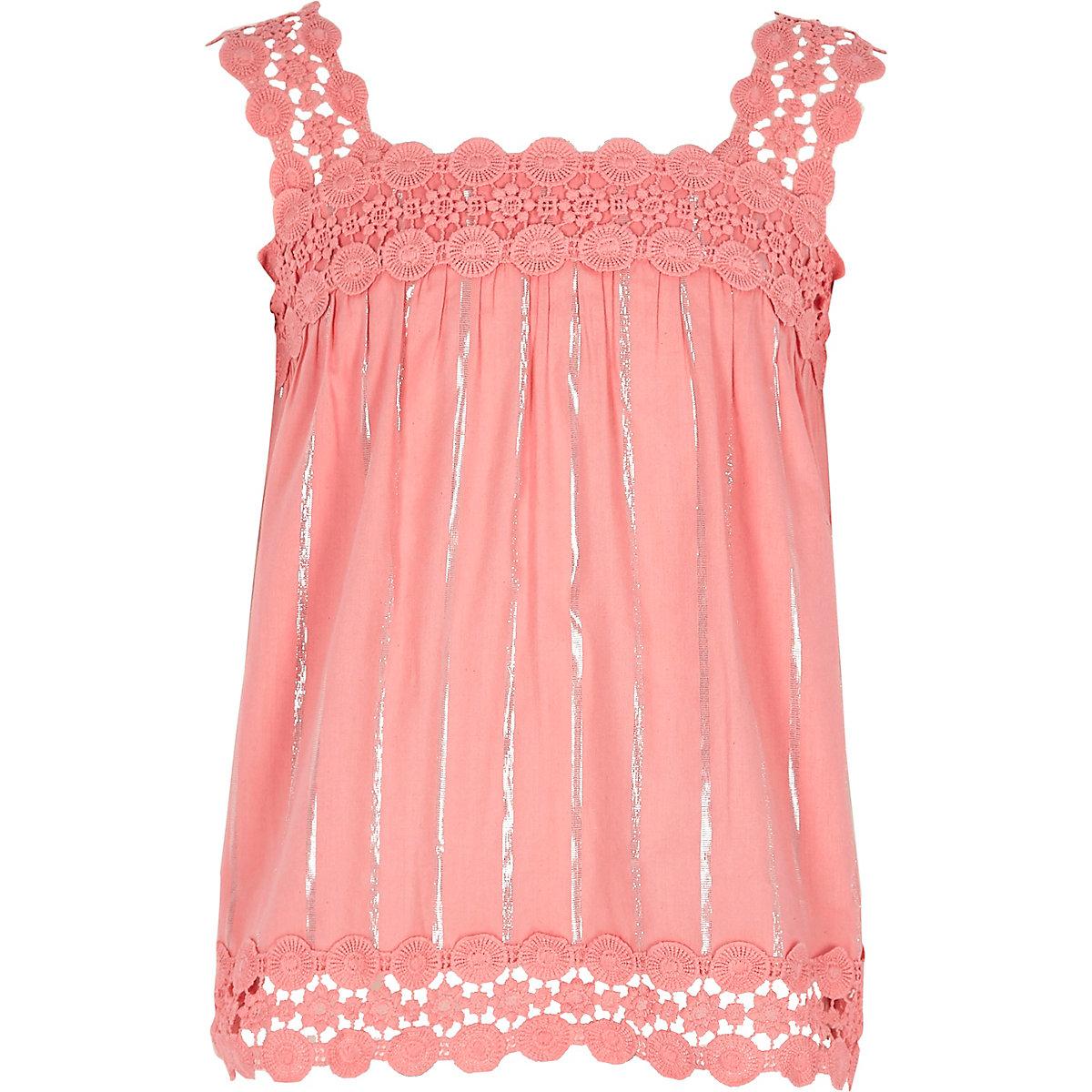 Caraco rose avec bordure en dentelle pour fille