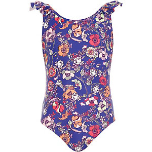 Girls blue floral print swimsuit