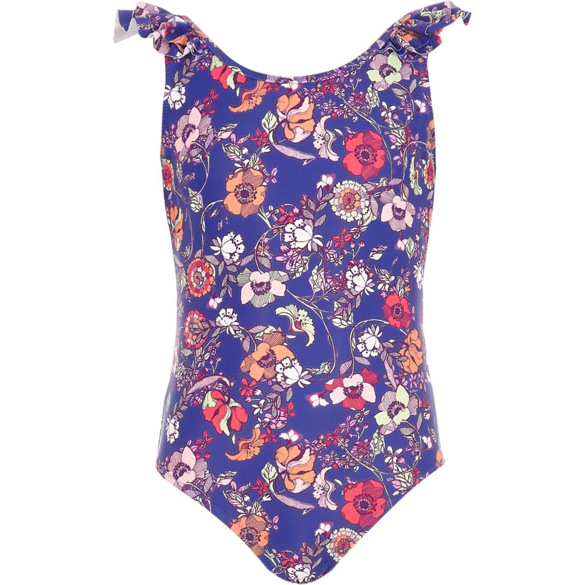 Maillot de bain à fleurs bleu pour fille