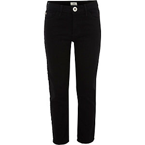 Girls black stretch straight leg jeans