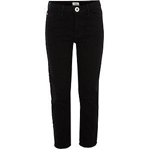 Schwarze Stretch-Jeans mit geradem Beinschnitt