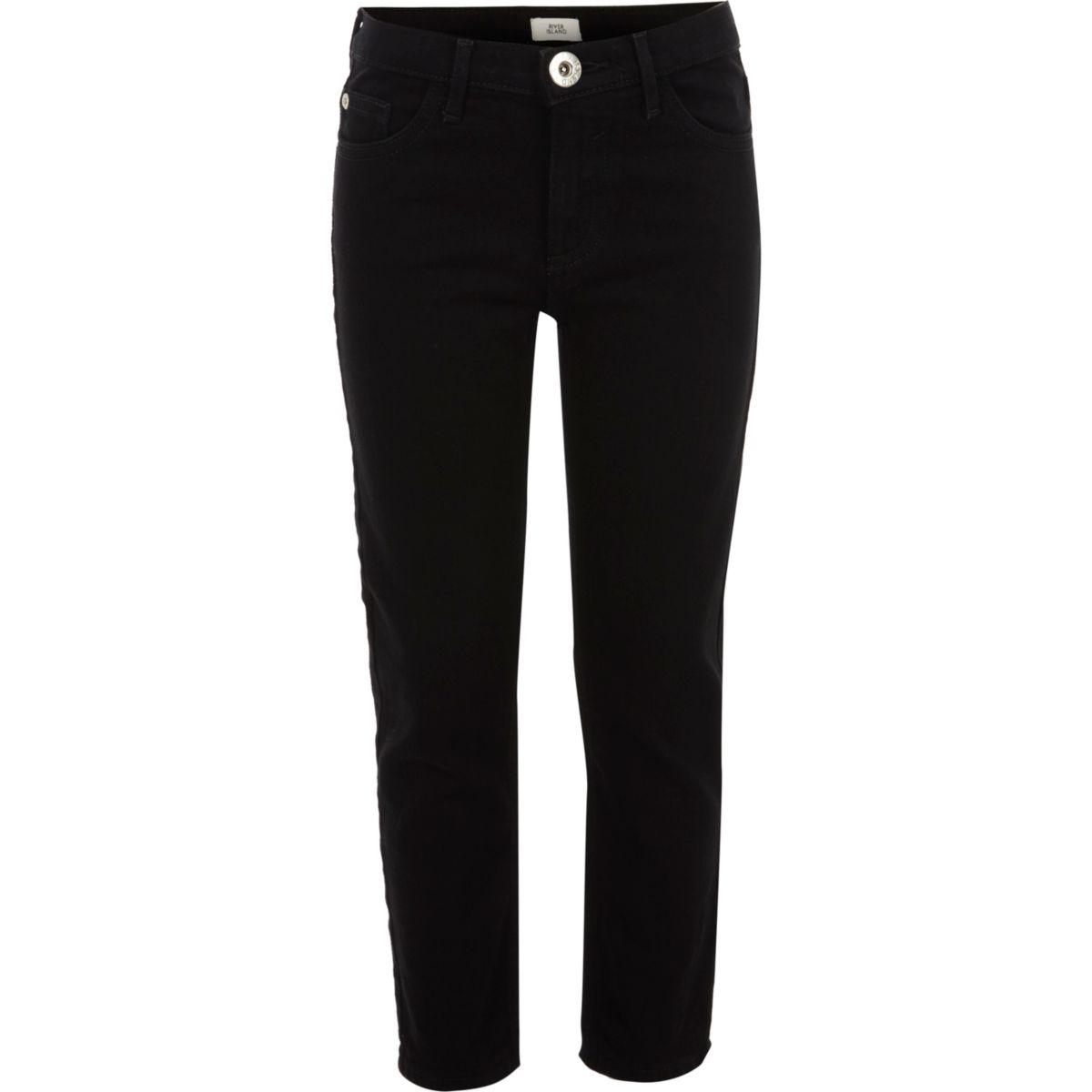 Girls black stretch straight leg jeans