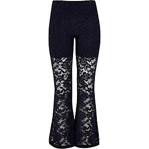 Girls blue lace floral leggings