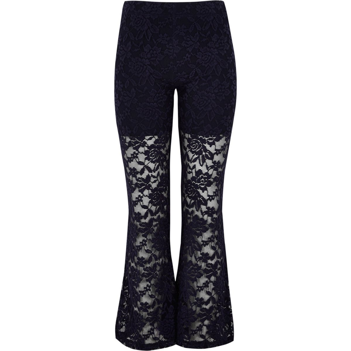 Girls blue lace floral leggings