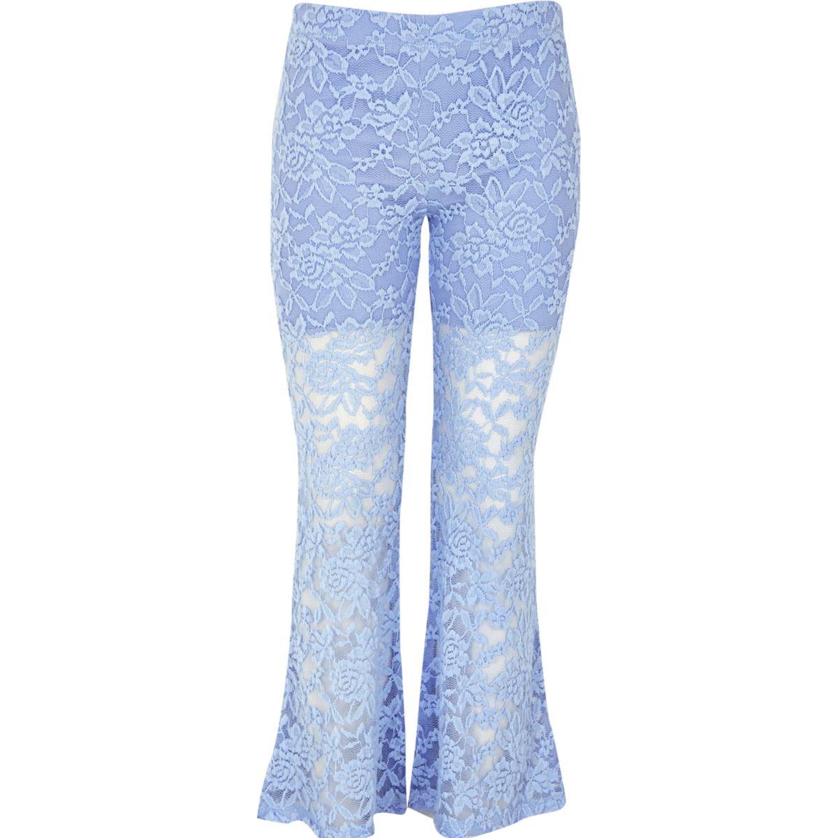 Legging à fleurs en dentelle bleu clair pour fille