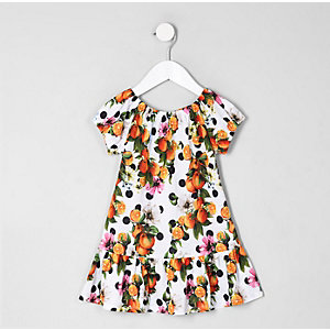 Mini girls white orange print dress