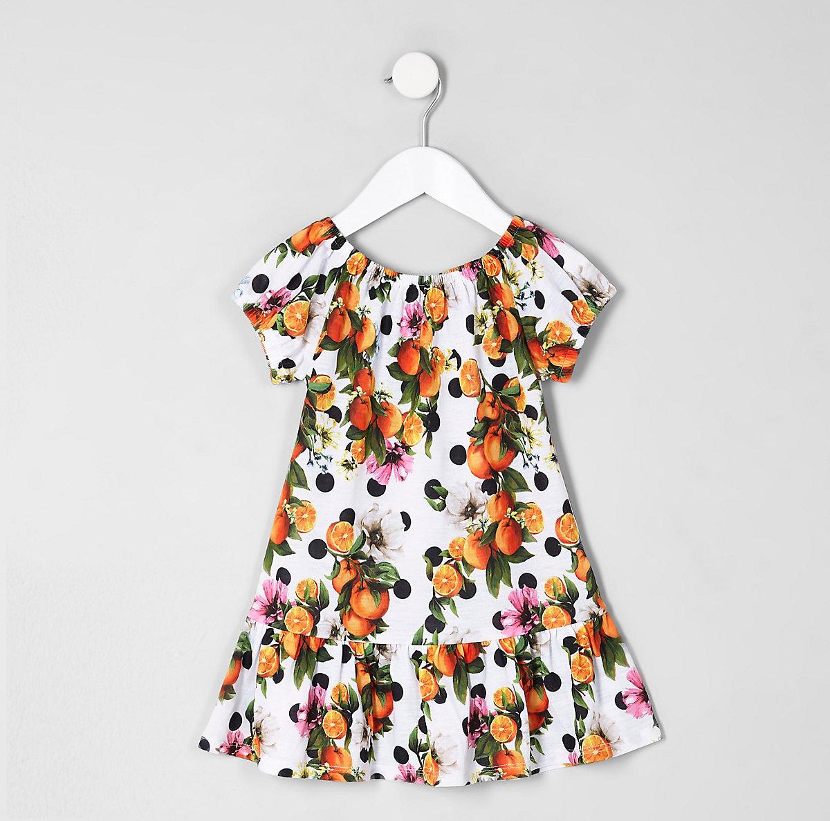 Mini girls white orange print dress