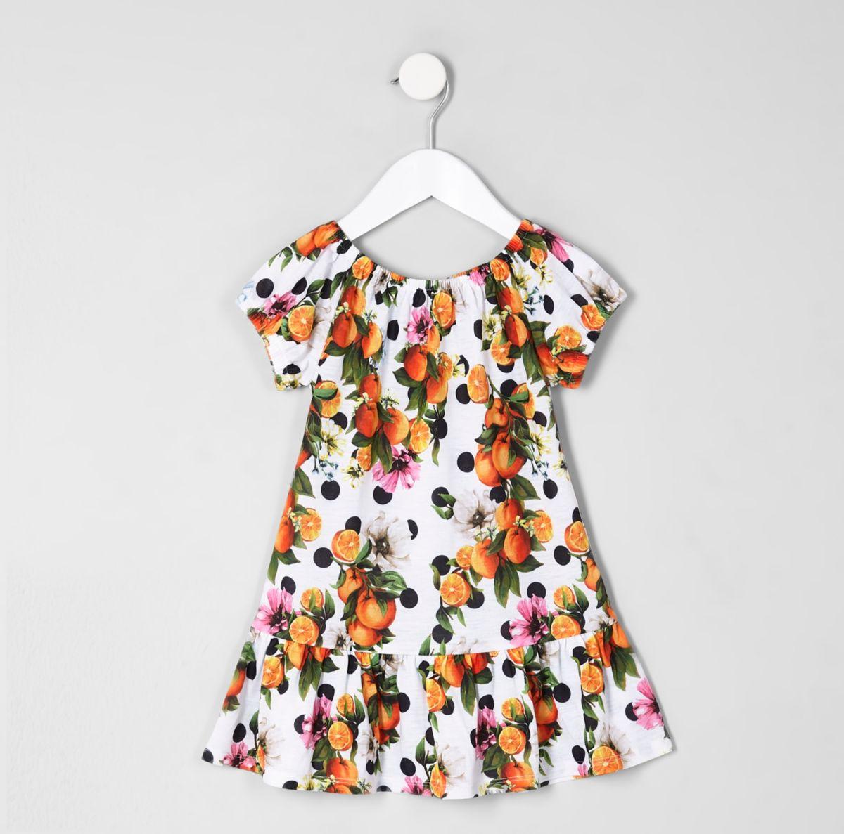 Gemustertes Kleid in Weiß und Orange