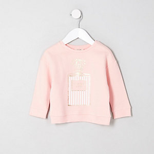 Sweat-shirt rose parfum « unique » mini fille