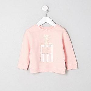 Mini - Roze sweatshirt met parfumfles- en 'Unique'-print voor meisjes