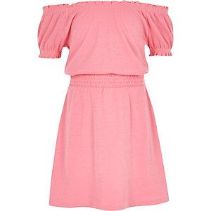 Roze gesmokte bardotjurk voor meisjes