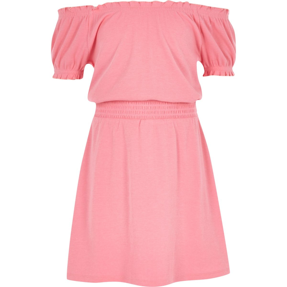 Girls pink shirred bardot dress