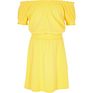 Girls yellow shirred bardot dress