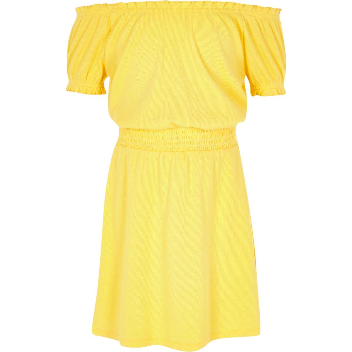 Girls yellow shirred bardot dress