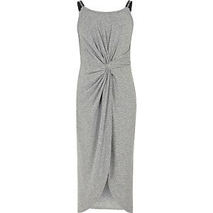Grijze gemêleerde maxi-jurk met gedraaide voorkant voor meisjes